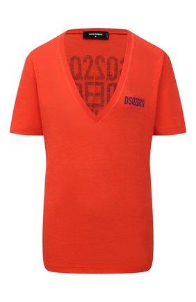 Женская хлопковая футболка DSQUARED2 красного цвета, арт. S75GD0165/S21600 | Фото 1