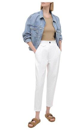 Женские хлопковые брюки DSQUARED2 белого цвета, арт. S75KB0190/S39021 | Фото 2