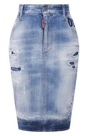 Женская джинсовая юбка DSQUARED2 синего цвета, арт. S75MA0770/S30342 | Фото 1
