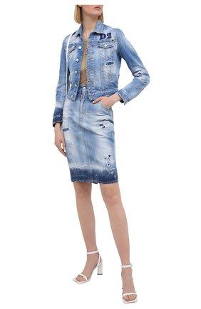 Женская джинсовая юбка DSQUARED2 синего цвета, арт. S75MA0770/S30342 | Фото 2