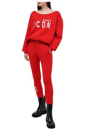 Женский хлопковый свитшот DSQUARED2 красного цвета, арт. S80GU0019/S25042 | Фото 2