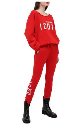 Женские хлопковые джоггеры DSQUARED2 красного цвета, арт. S80KA0001/S25042 | Фото 2