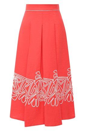 Женская льняная юбка LORO PIANA кораллового цвета, арт. FAL5864 | Фото 1