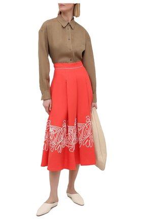 Женская льняная юбка LORO PIANA кораллового цвета, арт. FAL5864 | Фото 2