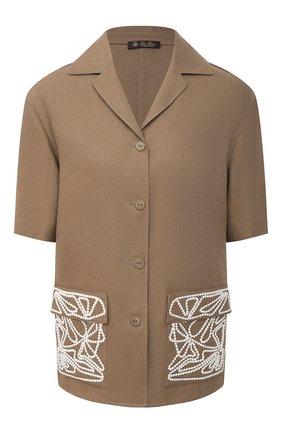 Женская льняная рубашка LORO PIANA коричневого цвета, арт. FAL6310 | Фото 1