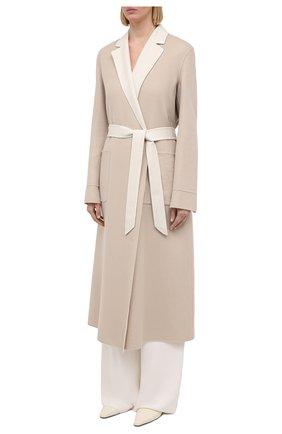 Женское кашемировое пальто LORO PIANA бежевого цвета, арт. FAI5340 | Фото 3