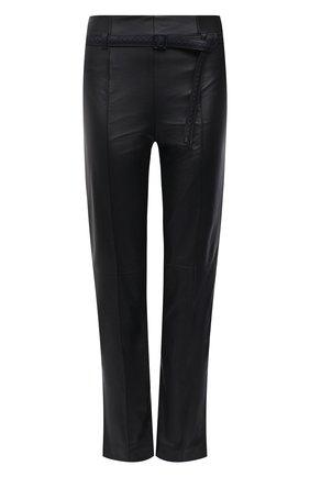 Женские кожаные брюки LORO PIANA темно-синего цвета, арт. FAL5454 | Фото 1