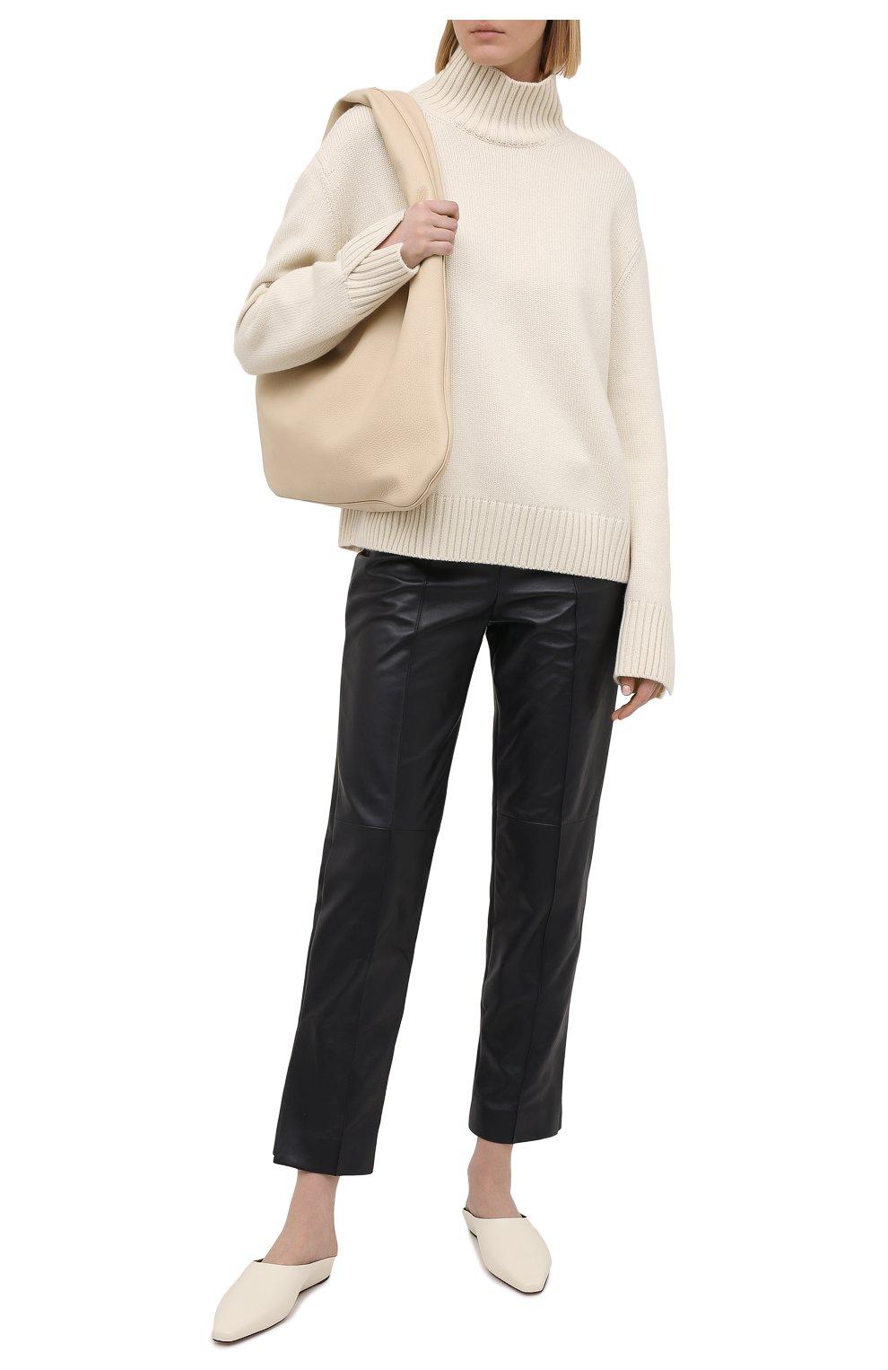 Женские кожаные брюки LORO PIANA темно-синего цвета, арт. FAL5454 | Фото 2