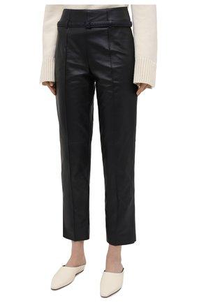 Женские кожаные брюки LORO PIANA темно-синего цвета, арт. FAL5454 | Фото 3
