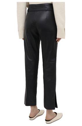 Женские кожаные брюки LORO PIANA темно-синего цвета, арт. FAL5454 | Фото 4