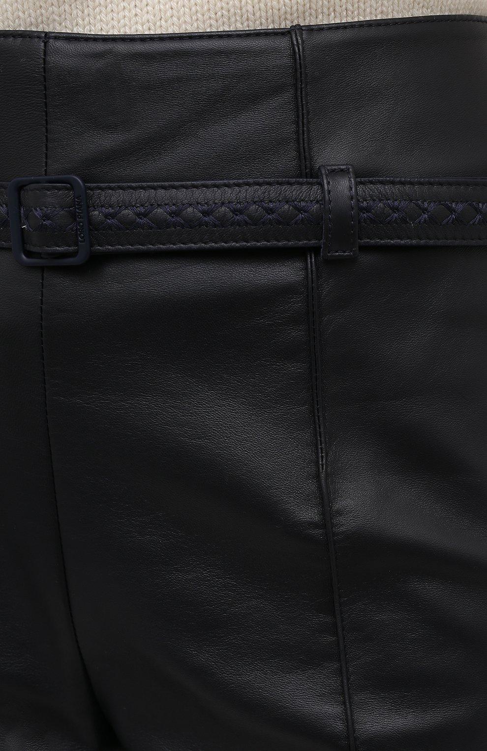 Женские кожаные брюки LORO PIANA темно-синего цвета, арт. FAL5454 | Фото 5