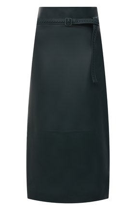 Женская кожаная юбка LORO PIANA темно-зеленого цвета, арт. FAL5455 | Фото 1