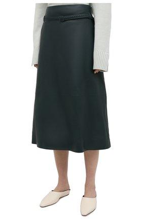 Женская кожаная юбка LORO PIANA темно-зеленого цвета, арт. FAL5455 | Фото 3
