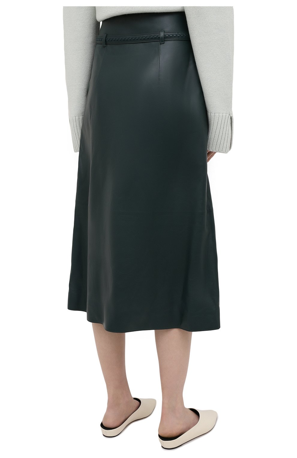 Женская кожаная юбка LORO PIANA темно-зеленого цвета, арт. FAL5455 | Фото 4