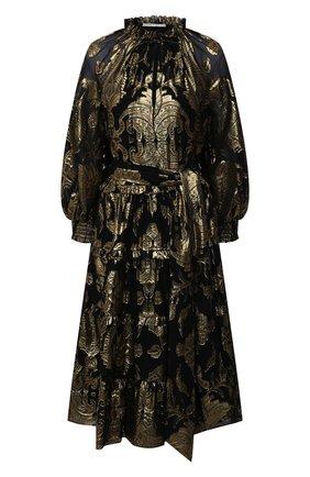 Женское шелковое платье ALICE + OLIVIA золотого цвета, арт. CC010T19504 | Фото 1