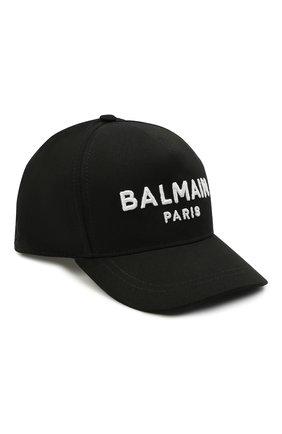 Детская хлопковая бейсболка BALMAIN черного цвета, арт. 6M0787 | Фото 1