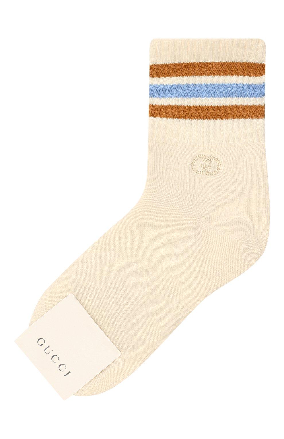Детские хлопковые носки GUCCI бежевого цвета, арт. 643519/4H428 | Фото 1
