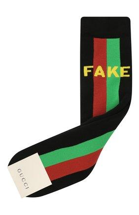 Детские хлопковые носки GUCCI черного цвета, арт. 645953/4K428 | Фото 1