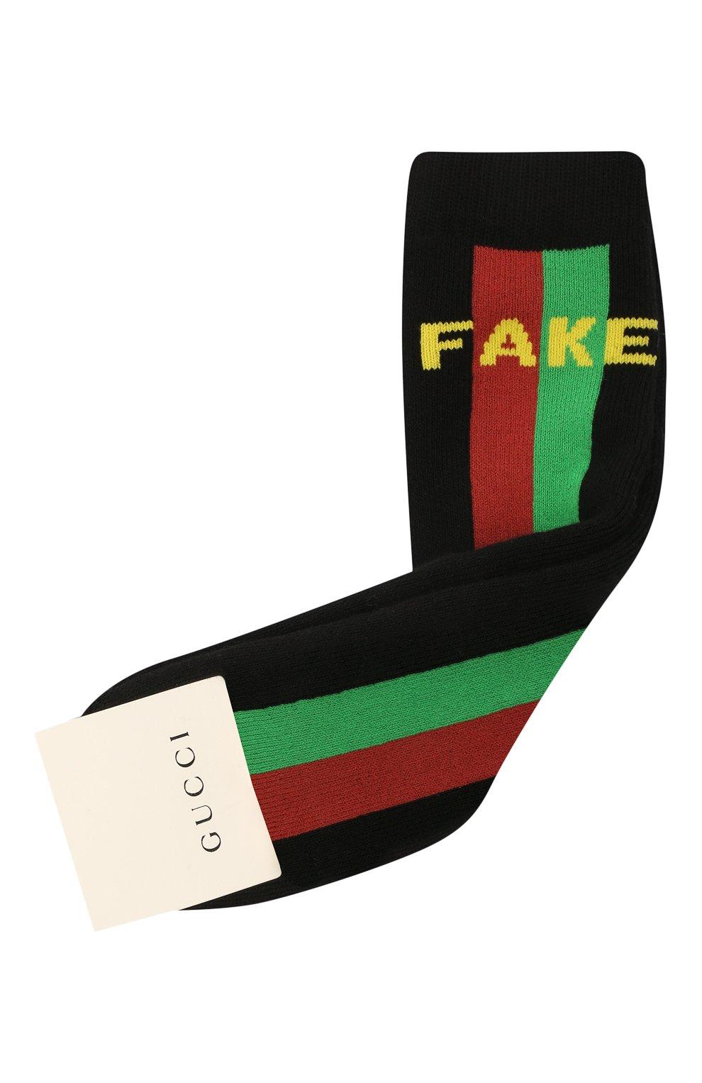 Детские хлопковые носки GUCCI черного цвета, арт. 646136/3K659   Фото 1 (Материал: Текстиль, Хлопок)