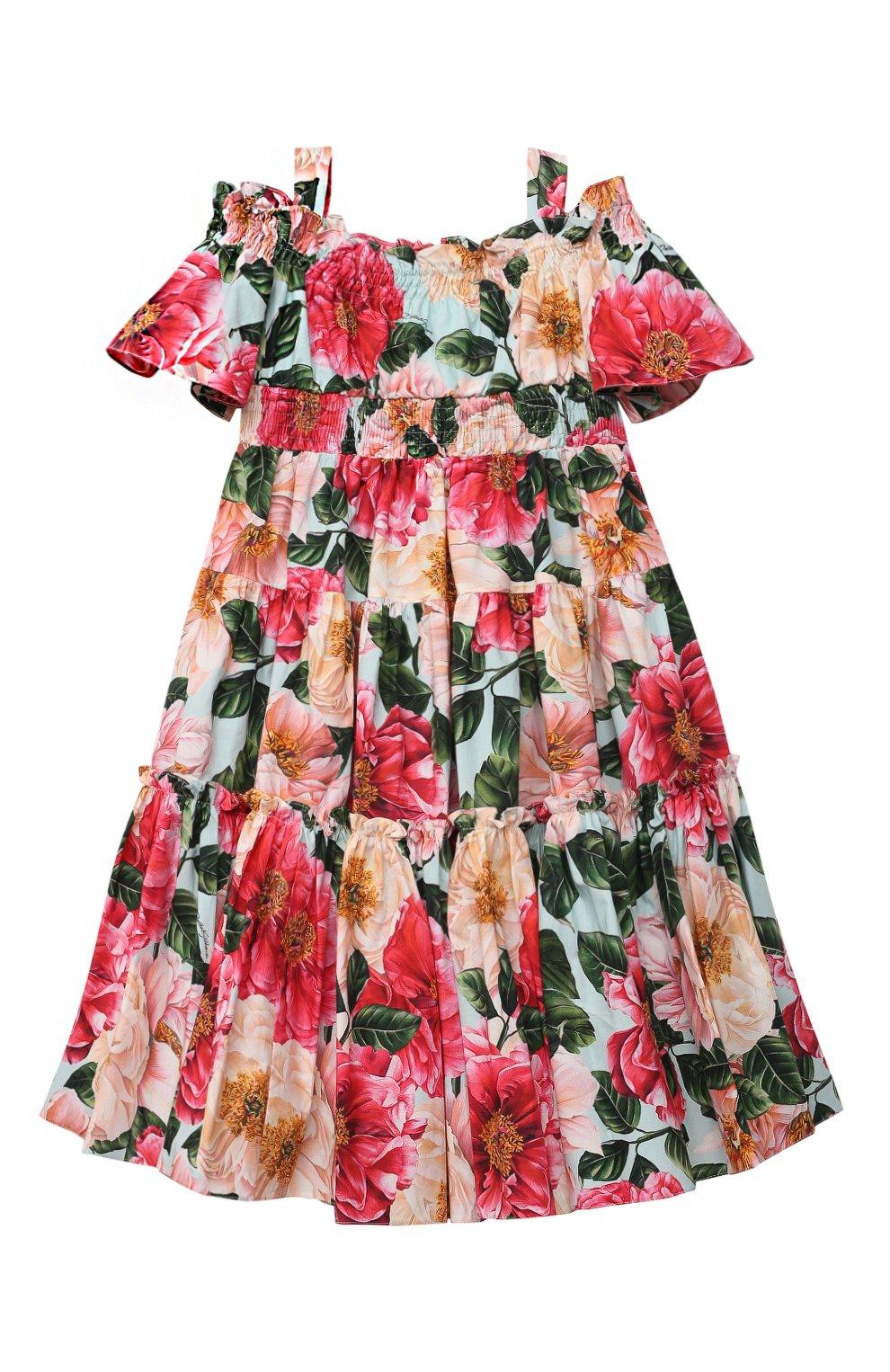 Детское хлопковое платье DOLCE & GABBANA разноцветного цвета, арт. L52DN9/HS5H5/2-6 | Фото 1 (Рукава: Короткие, С открытыми плечами; Случай: Повседневный; Материал внешний: Хлопок; Девочки Кросс-КТ: Платье-одежда; Материал подклада: Хлопок; Ростовка одежда: 2 года | 92 см, 3 года | 98 см, 4 года | 104 см, 5 лет | 110 см, 6 лет | 116 см)