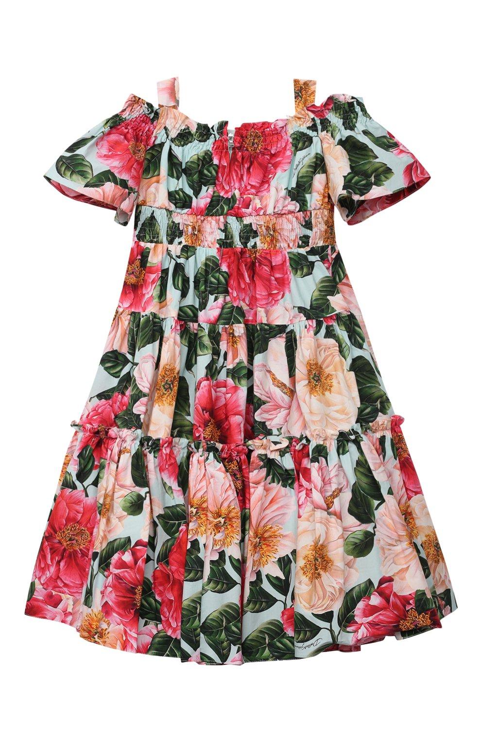 Детское хлопковое платье DOLCE & GABBANA разноцветного цвета, арт. L52DN9/HS5H5/2-6 | Фото 2 (Рукава: Короткие, С открытыми плечами; Случай: Повседневный; Материал внешний: Хлопок; Девочки Кросс-КТ: Платье-одежда; Материал подклада: Хлопок; Ростовка одежда: 2 года | 92 см, 3 года | 98 см, 4 года | 104 см, 5 лет | 110 см, 6 лет | 116 см)