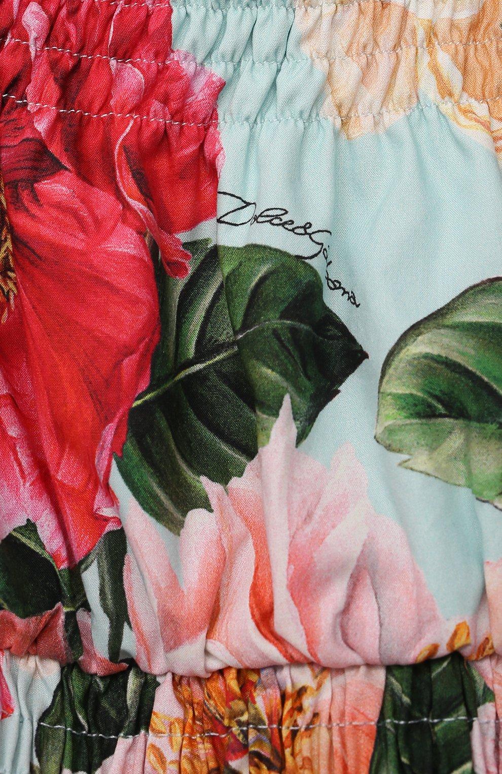 Детское хлопковое платье DOLCE & GABBANA разноцветного цвета, арт. L52DN9/HS5H5/2-6 | Фото 3 (Рукава: Короткие, С открытыми плечами; Случай: Повседневный; Материал внешний: Хлопок; Девочки Кросс-КТ: Платье-одежда; Материал подклада: Хлопок; Ростовка одежда: 2 года | 92 см, 3 года | 98 см, 4 года | 104 см, 5 лет | 110 см, 6 лет | 116 см)