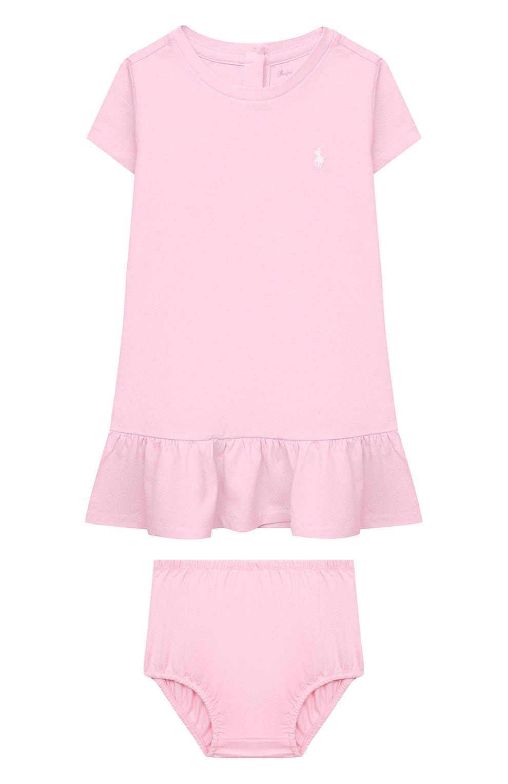 Женский комплект из платья и шорт POLO RALPH LAUREN розового цвета, арт. 310835081 | Фото 1