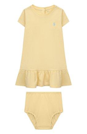 Женский комплект из платья и шорт POLO RALPH LAUREN желтого цвета, арт. 310835081 | Фото 1