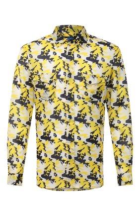 Мужская рубашка KNT желтого цвета, арт. UCK0104H0772201 | Фото 1 (Принт: С принтом; Длина (для топов): Стандартные; Случай: Повседневный; Материал внешний: Синтетический материал; Манжеты: На кнопках; Стили: Кэжуэл; Воротник: Акула; Рукава: Длинные)