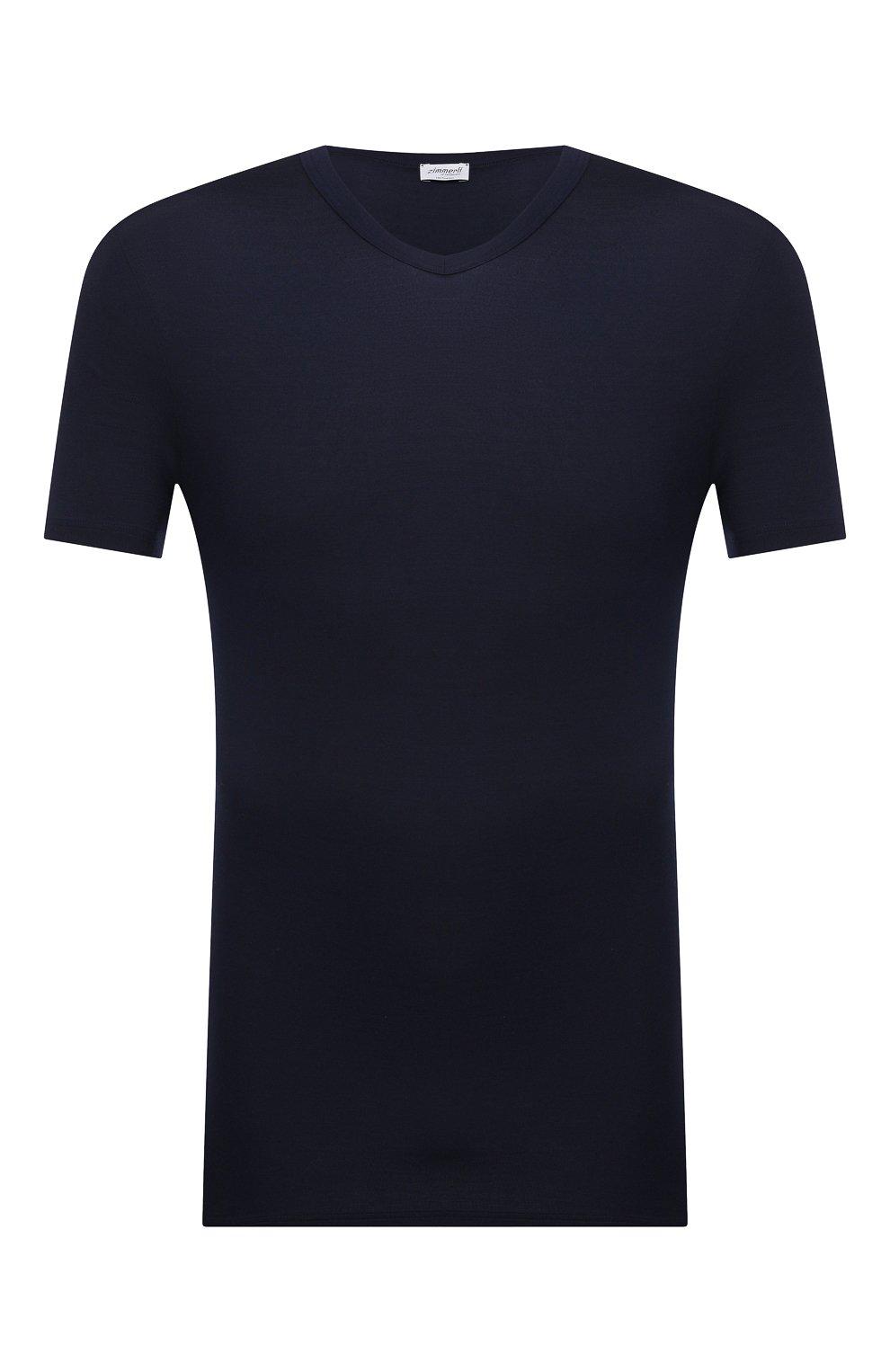 Мужская футболка ZIMMERLI темно-синего цвета, арт. 700-1346 | Фото 1 (Кросс-КТ: домашняя одежда; Рукава: Короткие; Материал внешний: Синтетический материал; Длина (для топов): Стандартные; Мужское Кросс-КТ: Футболка-белье)