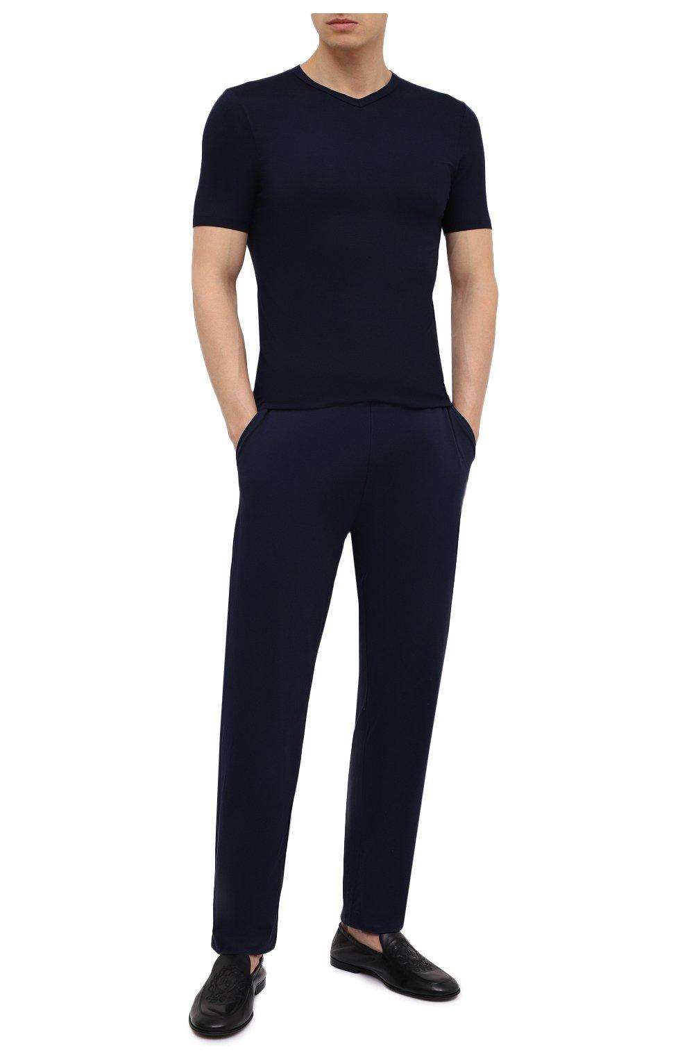 Мужская футболка ZIMMERLI темно-синего цвета, арт. 700-1346 | Фото 2 (Кросс-КТ: домашняя одежда; Рукава: Короткие; Материал внешний: Синтетический материал; Длина (для топов): Стандартные; Мужское Кросс-КТ: Футболка-белье)