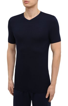 Мужская футболка ZIMMERLI темно-синего цвета, арт. 700-1346 | Фото 3 (Кросс-КТ: домашняя одежда; Рукава: Короткие; Материал внешний: Синтетический материал; Длина (для топов): Стандартные; Мужское Кросс-КТ: Футболка-белье)