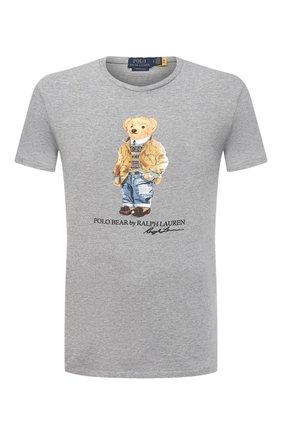 Мужская хлопковая футболка POLO RALPH LAUREN серого цвета, арт. 710835761 | Фото 1 (Материал внешний: Хлопок; Рукава: Короткие; Длина (для топов): Стандартные; Стили: Кэжуэл; Принт: С принтом)