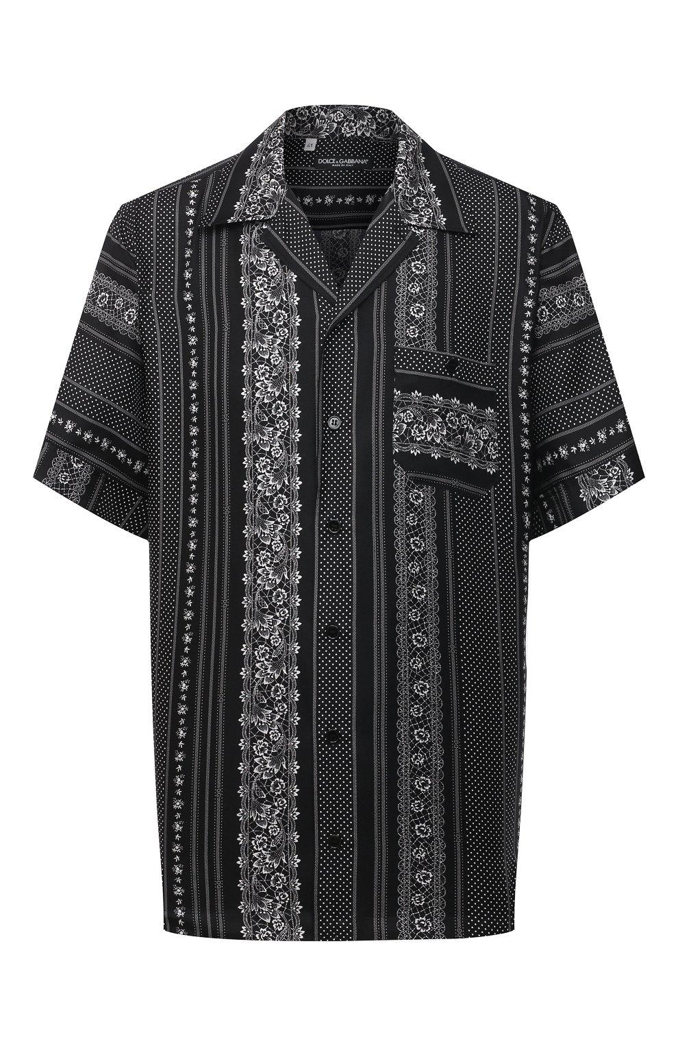 Мужская шелковая рубашка DOLCE & GABBANA черно-белого цвета, арт. G5FX9T/IS1HD | Фото 1