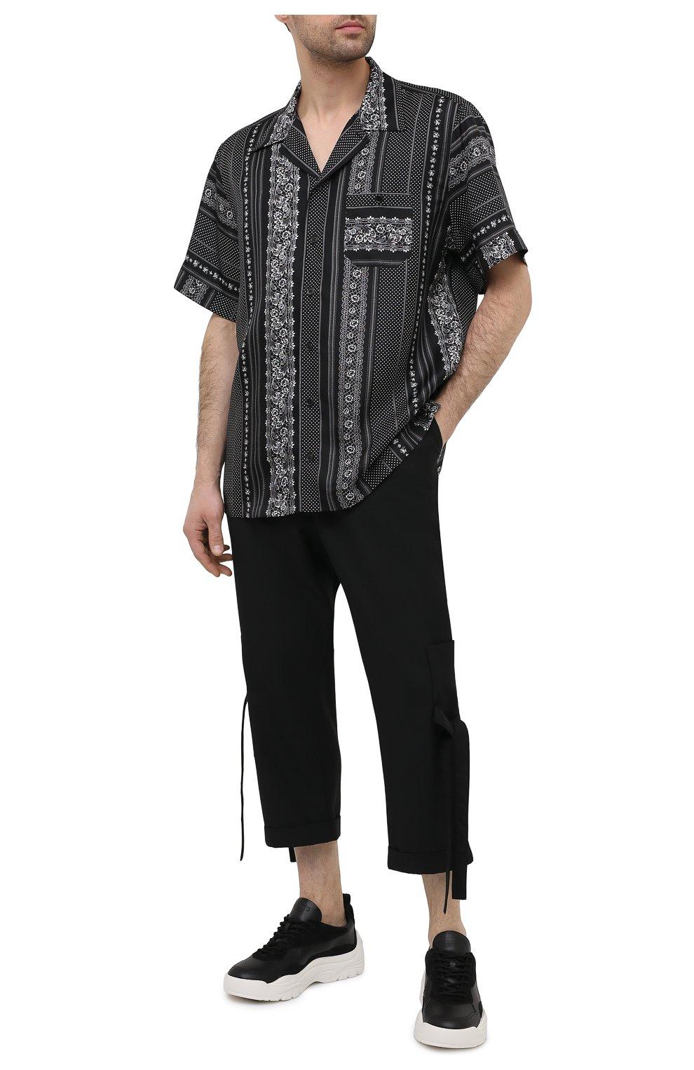 Мужская шелковая рубашка DOLCE & GABBANA черно-белого цвета, арт. G5FX9T/IS1HD | Фото 2