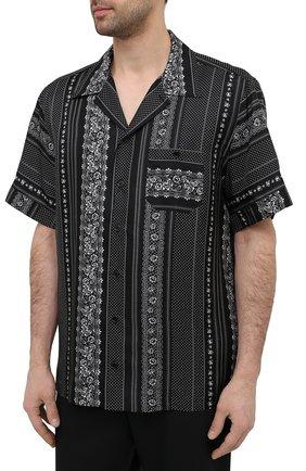 Мужская шелковая рубашка DOLCE & GABBANA черно-белого цвета, арт. G5FX9T/IS1HD | Фото 3