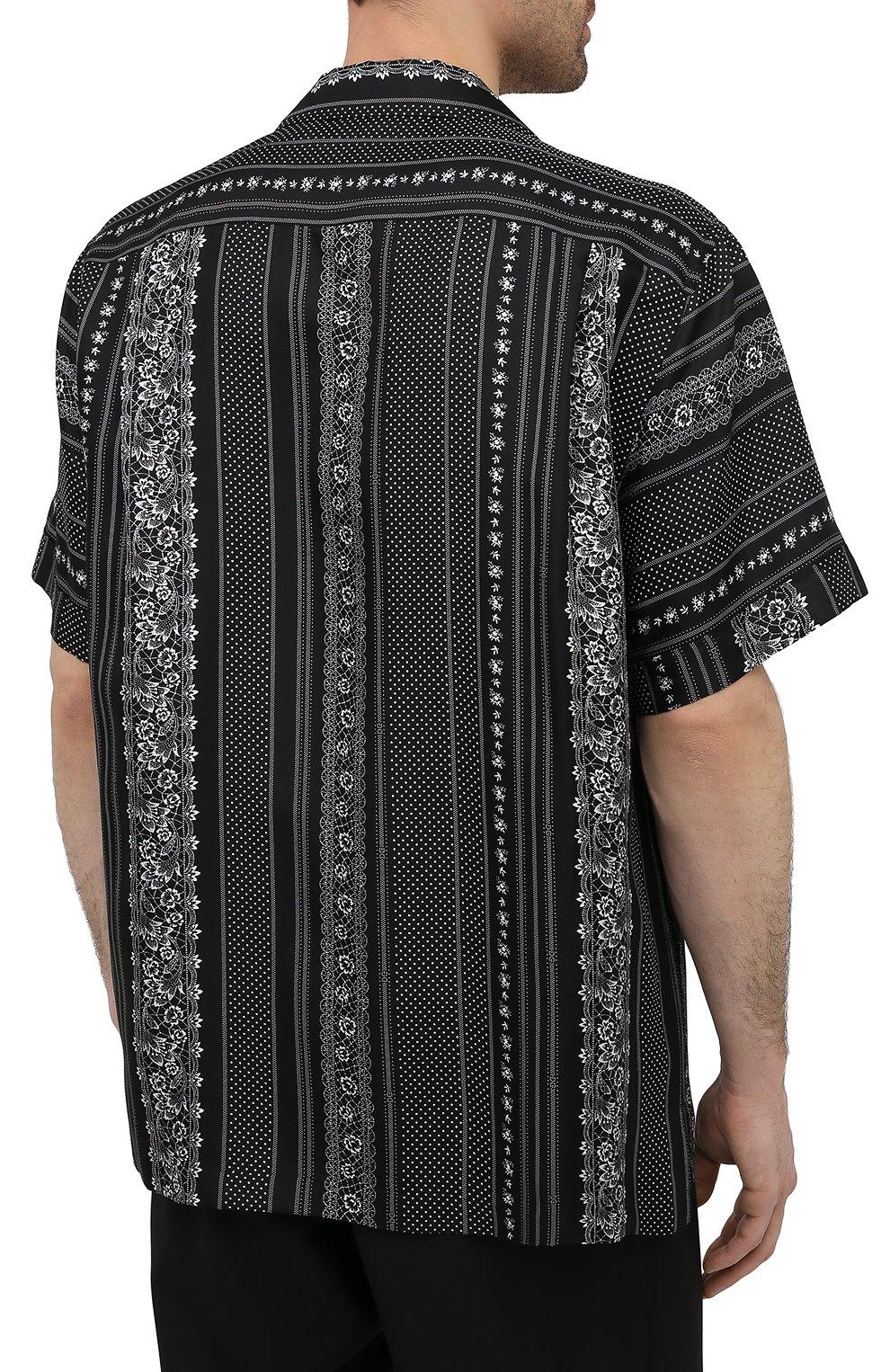 Мужская шелковая рубашка DOLCE & GABBANA черно-белого цвета, арт. G5FX9T/IS1HD | Фото 4