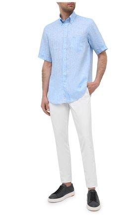 Мужская льняная рубашка PAUL&SHARK голубого цвета, арт. 21413031/F7E | Фото 2