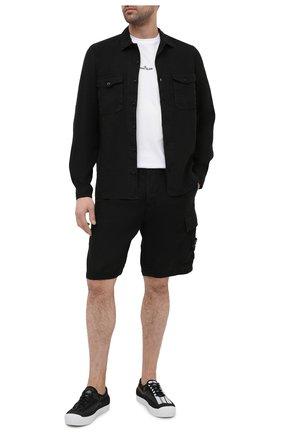 Мужская льняная рубашка STONE ISLAND черного цвета, арт. 741512001 | Фото 2