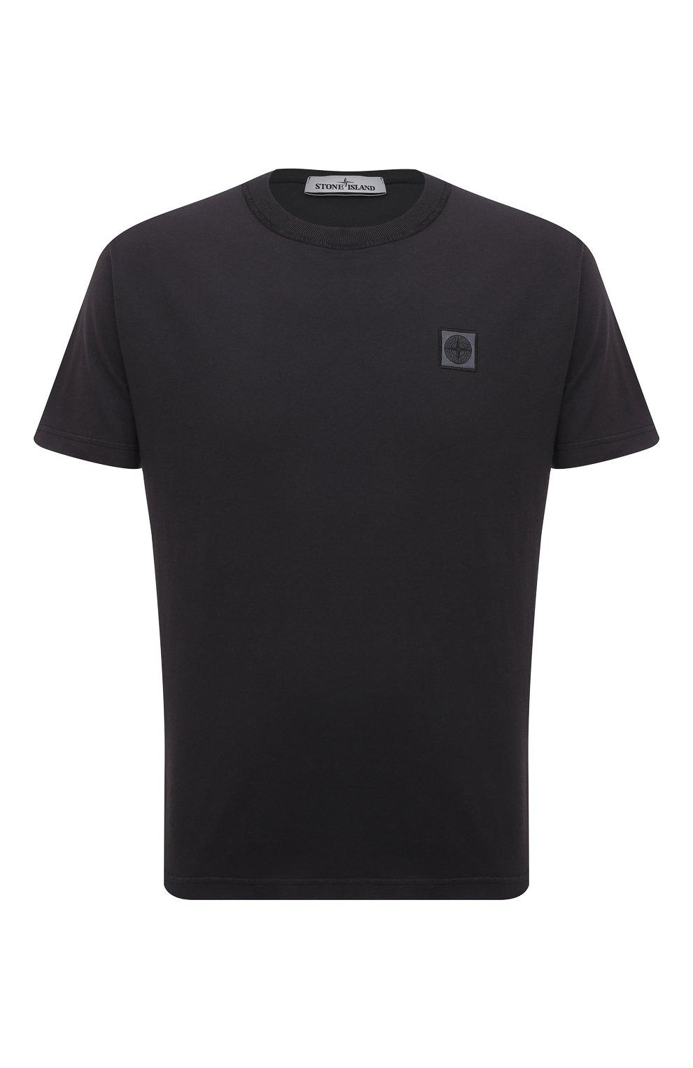 Мужская хлопковая футболка STONE ISLAND темно-серого цвета, арт. 741523757 | Фото 1