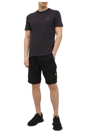 Мужская хлопковая футболка STONE ISLAND темно-серого цвета, арт. 741523757 | Фото 2