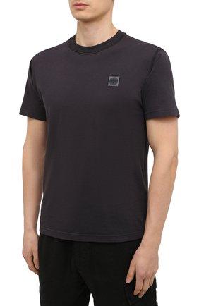 Мужская хлопковая футболка STONE ISLAND темно-серого цвета, арт. 741523757 | Фото 3