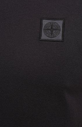 Мужская хлопковая футболка STONE ISLAND темно-серого цвета, арт. 741523757 | Фото 5