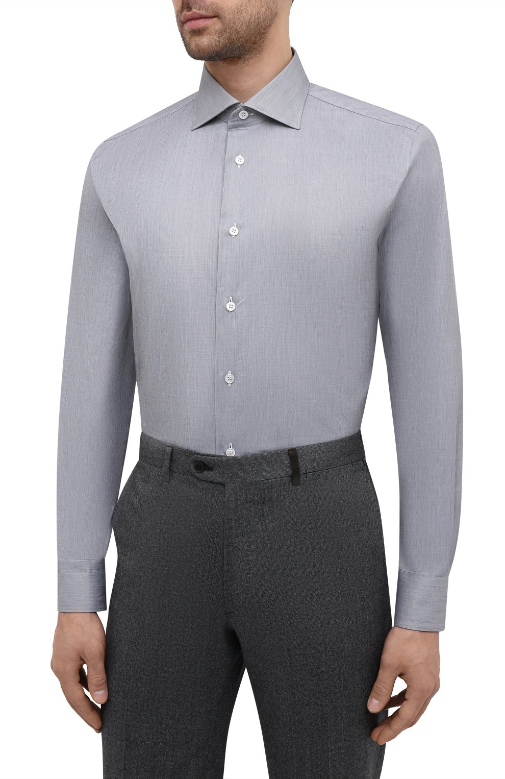 Мужская хлопковая сорочка BRIONI серого цвета, арт. RCH10L/P004R   Фото 3