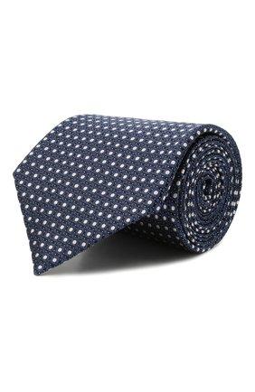 Мужской шелковый галстук ERMENEGILDO ZEGNA темно-синего цвета, арт. Z9D10/18B | Фото 1 (Принт: С принтом; Материал: Шелк, Текстиль)
