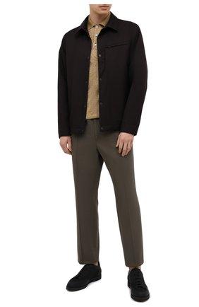 Мужское поло из хлопка и шелка ERMENEGILDO ZEGNA бежевого цвета, арт. UW369/746 | Фото 2