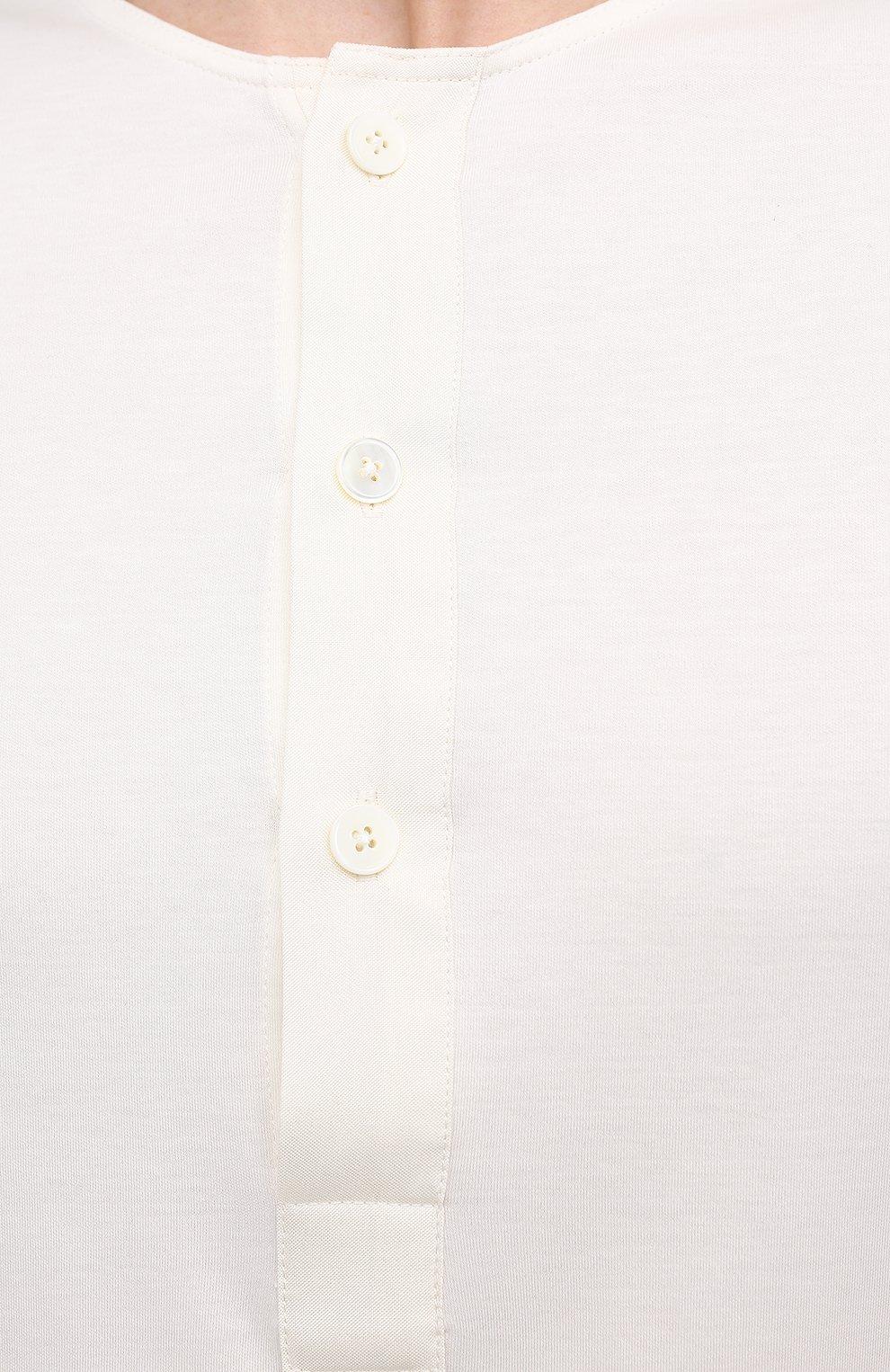Мужская лонгслив из хлопка и шелка ERMENEGILDO ZEGNA белого цвета, арт. UW322/816   Фото 5 (Материал внешний: Шелк, Хлопок; Рукава: Длинные; Принт: Без принта; Длина (для топов): Стандартные; Стили: Кэжуэл)