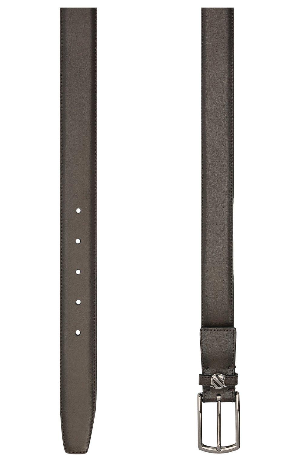 Мужской кожаный ремень ERMENEGILDO ZEGNA темно-коричневого цвета, арт. BVIR3G/J1260A   Фото 2