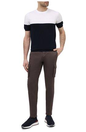 Мужские брюки-карго изо льна и хлопка KITON темно-коричневого цвета, арт. UFPPCAJ07T38 | Фото 2 (Материал внешний: Хлопок, Лен; Длина (брюки, джинсы): Стандартные; Случай: Повседневный; Стили: Кэжуэл; Силуэт М (брюки): Карго)