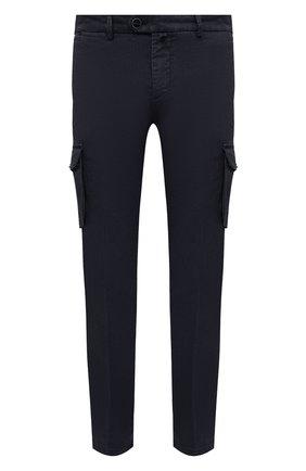 Мужские брюки-карго изо льна и хлопка KITON темно-синего цвета, арт. UFPPCAJ07T38 | Фото 1